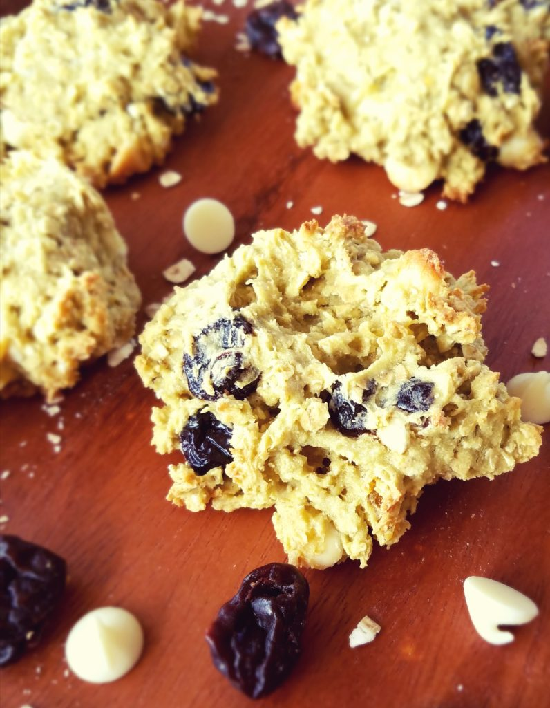 White Chocolate Apricot Cookies. Dairy free and gluten free oatmeal cookies bursting with white chocolate chips, dried fruit for a healthy treat to satisfy your sweet tooth.