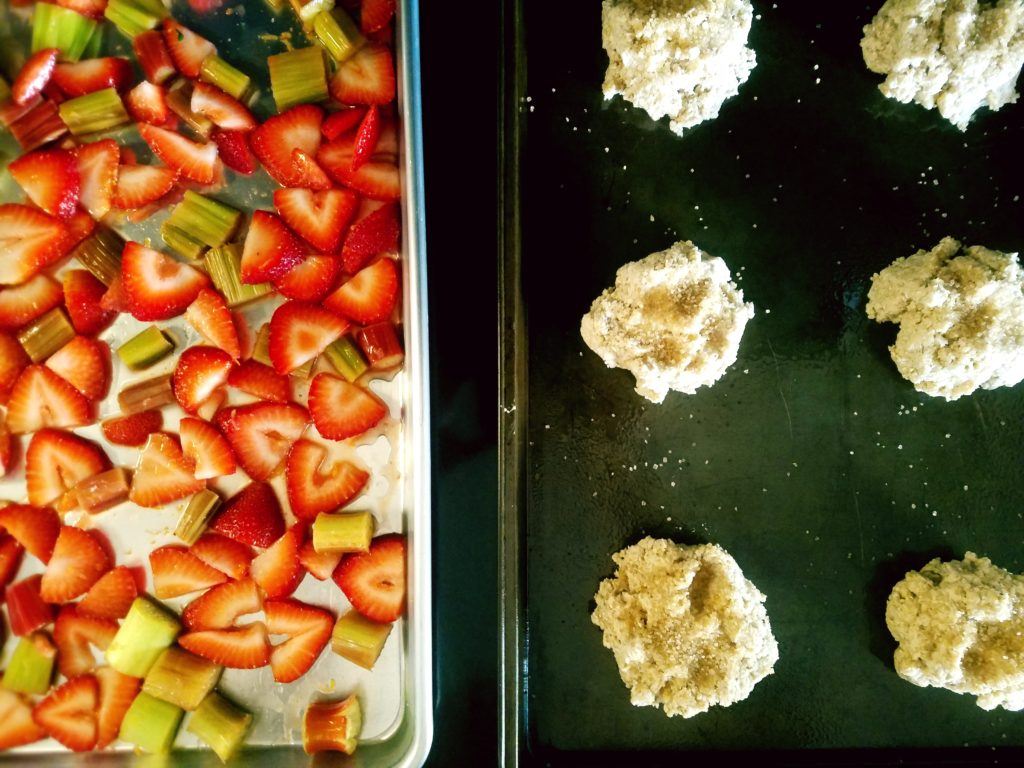 Roasted Strawberry Rhubarb Shortcake - Homemade gluten free biscuits are topped with sweet roasted strawberries and rhubarb for a delicious summer treat!