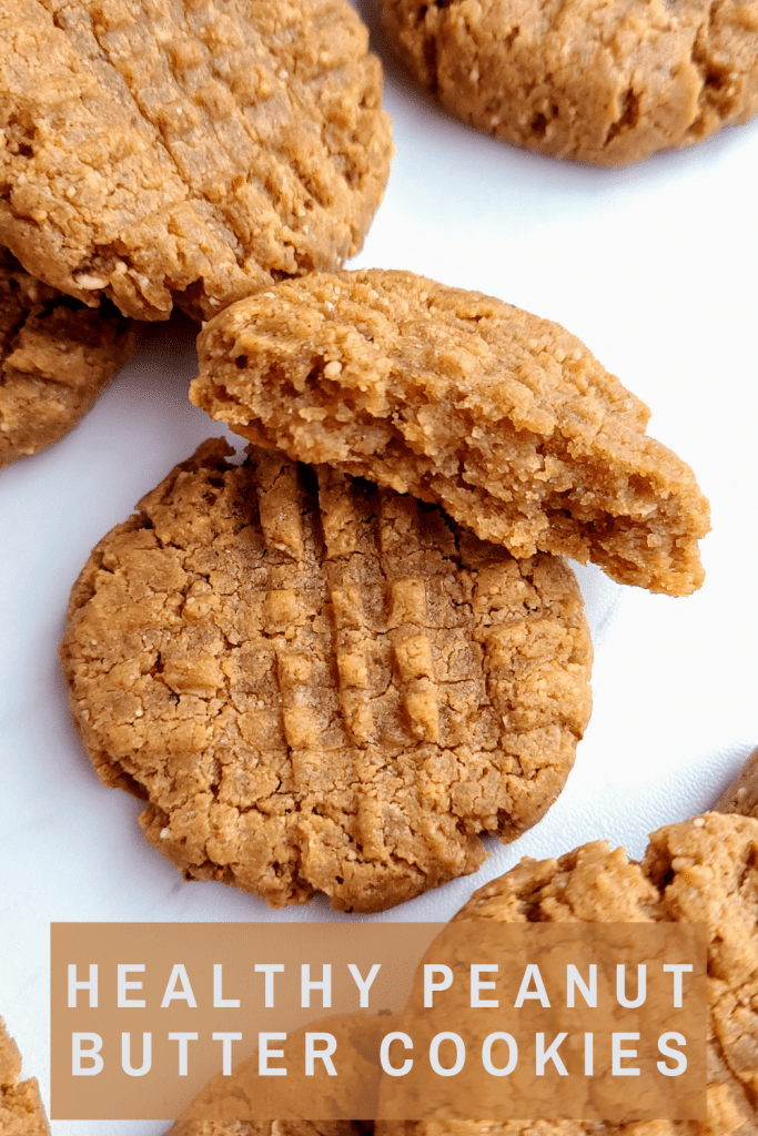 Soft and chewy healthy peanut butter cookies are packed with protein and a perfect post workout snack or healthy treat for kids. Refined sugar free and gluten free, this simple one bowl healthy peanut butter cookie recipe will be a crowd favorite. #healthypeanutbuttercookies #peanutbuttercookierecipe #easypeanutbuttercookies #onebowlcookies #healthysnacksforkids #postworkoutsnackidea