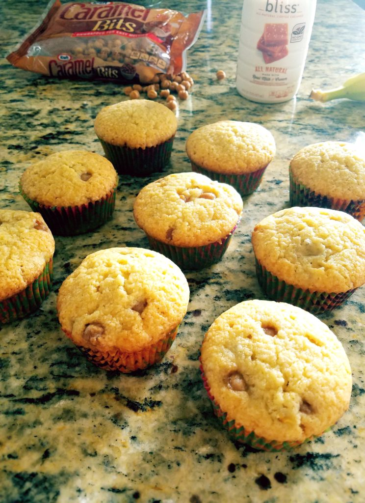 Light and fluffy cupcakes are filled with bananas and caramel bits that will remind you of bananas foster!