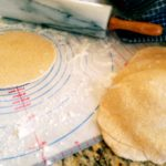 Homemade pita bread that's ready to be sprinkled with sweet cinnamon sugar.