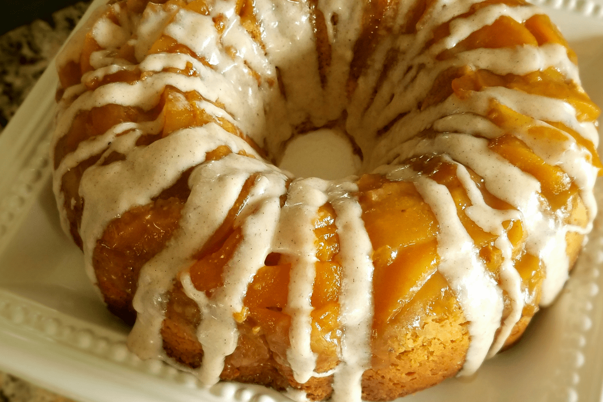 peach upside down cake with cinnamon cream cheese frosting