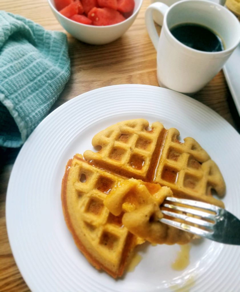 This waffle recipe is so easy to make at home. It's packed with protein and real ingredients for a healthy waffle you can feel good about serving your family.