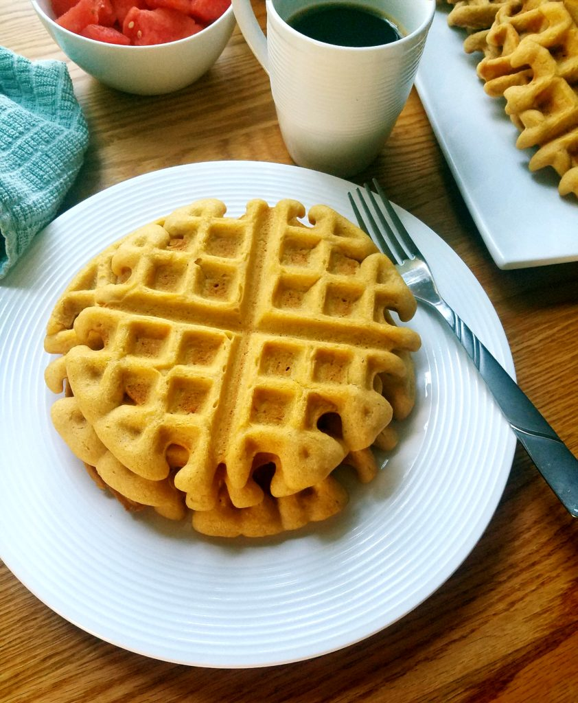 This homemade healthy chickpea waffle recipe is packed with protein and natural sweeteners for a delicious morning treat.