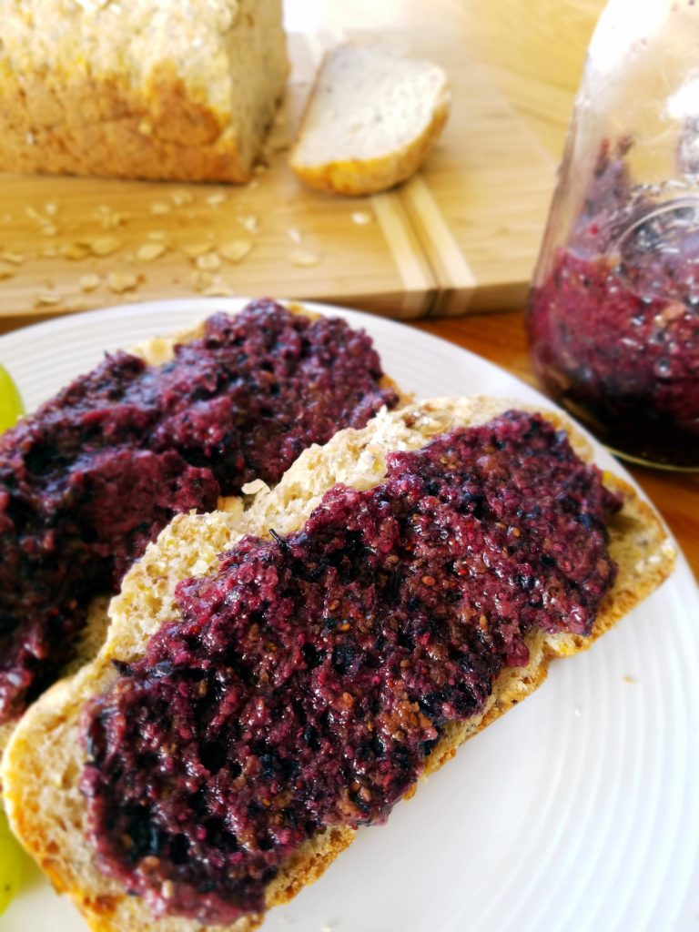 Healthy, homemade, blueberry chia seed jam recipe