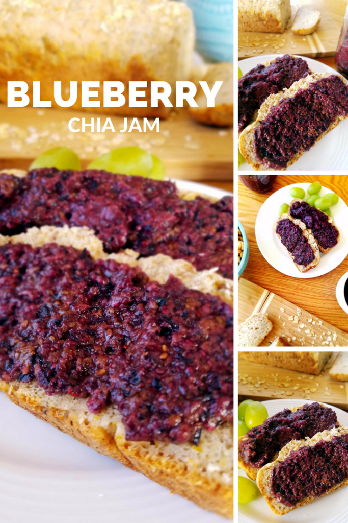 Homemade blueberry chia seed jam requires only a blender. No canning or added sugars or stabalizers. Simple ingredients that are good for you and your family.