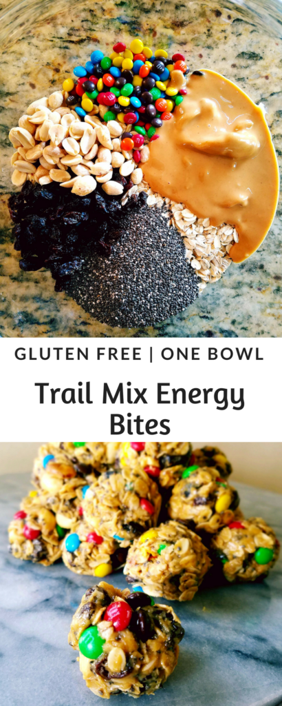 Trail mix energy bites are gluten free, made in one bowl and have all of the traditional flavors of trail mix {chocolate, raisins and peanuts}. Roll them into bite size balls that are a great pre or post workout healthy snack.
