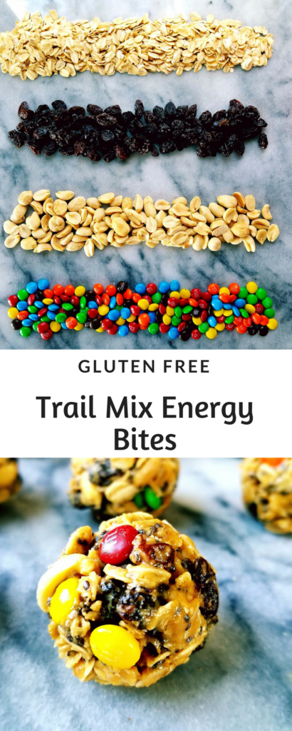 No bake trail mix energy bites have all the traditional flavors of trail mix {chocolate, raisins and peanuts} rolled into a bite size ball that's a great healthy portable snack.