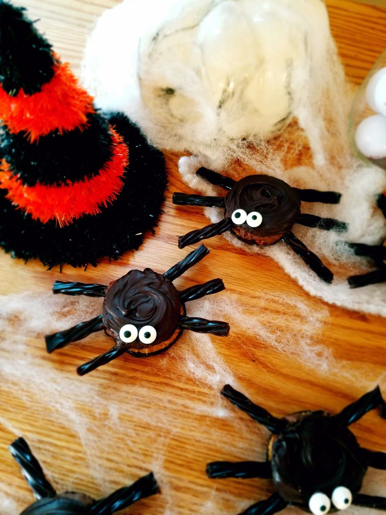Spooky spiders are perfect for a Halloween party. They're super easy to make and only require 5 ingredients to make.