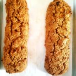 Baked gluten free, healthy, apple spice biscotti makes for the perfect mummy Halloween treat.