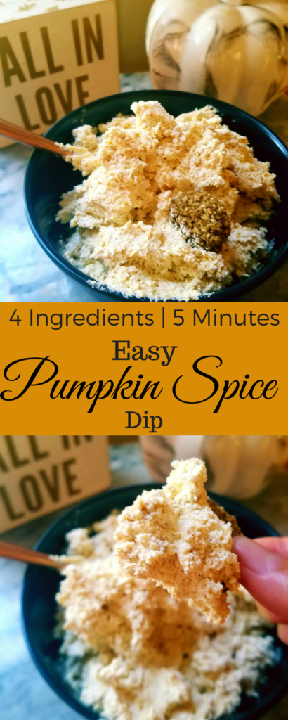 This sweet pumpkin spice dip is so easy to make! It only requires 4 ingredients and 5 minutes of your time. Dip apples, fruit, pretzels or cookies in it for a dessert perfect for Fall.