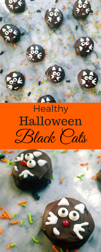Looking for a Halloween inspired treat for your next party? Click to see these healthy Halloween black cats that only require 3 ingredients to make and are super easy.