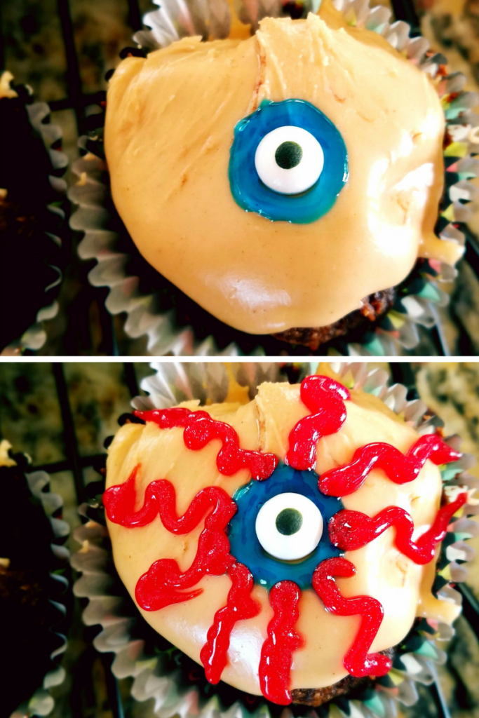 How to make a healthy gluten free chocolate cupcake look like an eyeball that's perfect for Halloween.