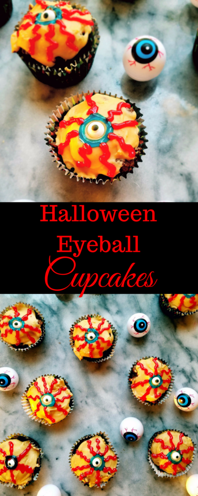 Looking for a Halloween treat for your upcoming party? These eyeball cupcakes are healthy, gluten free and full of dark chocolate. They're easy to decorate and make for the perfect Halloween treat. #halloween #halloweentreats