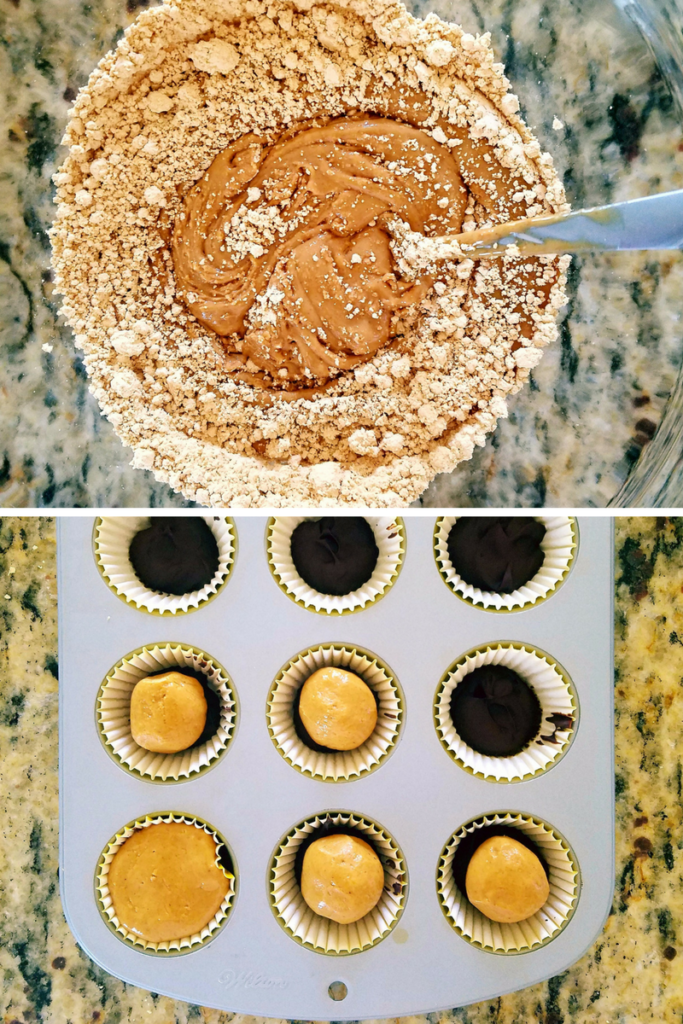 mixing together peanut butter and PB2 {top photo}. Pressing the mixture into chocolate filled muffin tins