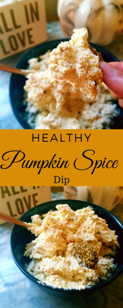 This healthy sweet pumpkin spice dip is perfect for the holidays or parties. Only 4 ingredients and 5 minutes of your time and you have the perfect dip for apples, fruit, pretzels or cookies.