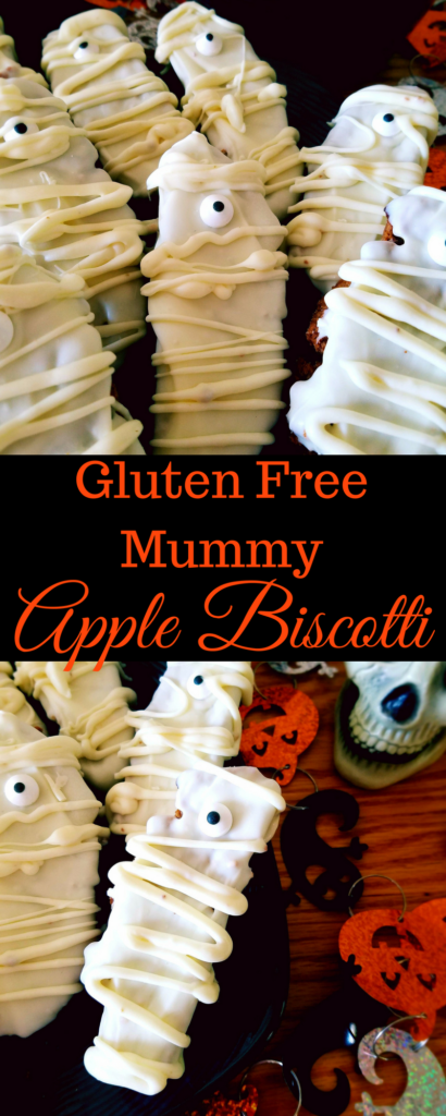 Gluten free mummy biscotti is a healthy, twice baked cookie that is a lot easier to make than you would think. It's packed with dried apples and spices and then coated in white chocolate for a mummified look perfect for Halloween.
