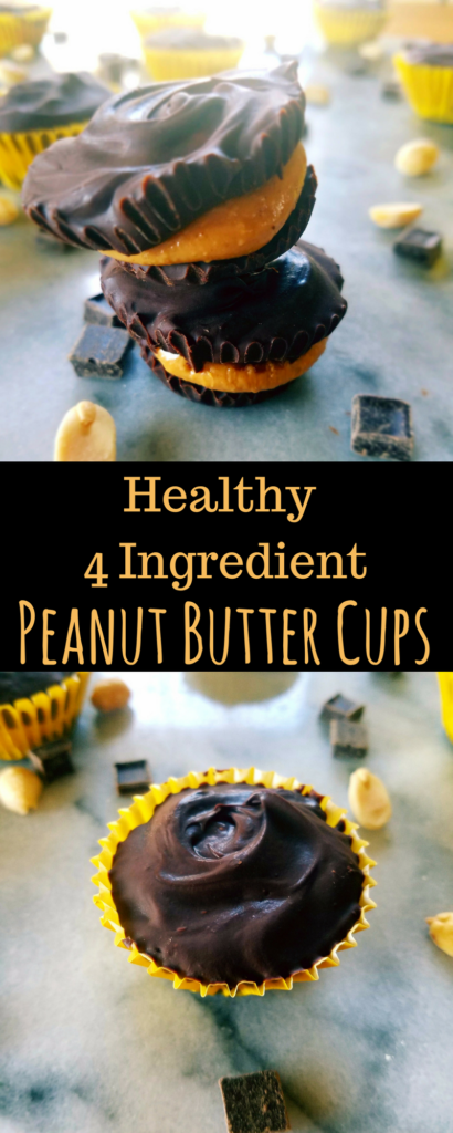 Healthy peanut butter cups are a perfect Reese's copy cat that only require 4 ingredients and 30 minutes to make. They're full of protein and healthy dark chocolate. They're gluten free, dairy free and super easy to make. Eat as a small dessert, or a pre or post workout snack.