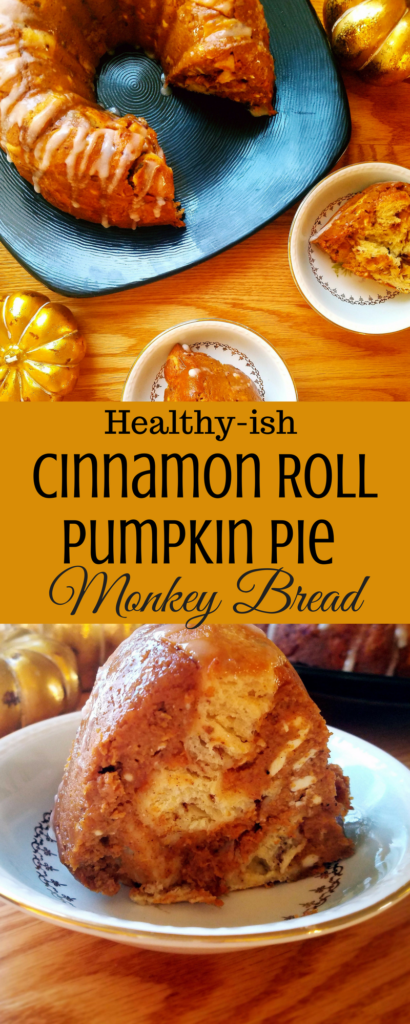 Cinnamon roll pumpkin pie monkey bread is perfect for breakfast or dessert during the holidays. It's a mash-up between a healthy pumpkin pie, with cinnamon, cardamom and nutmeg flavors. Plus the classic breakfast, cinnamon rolls and frosting.