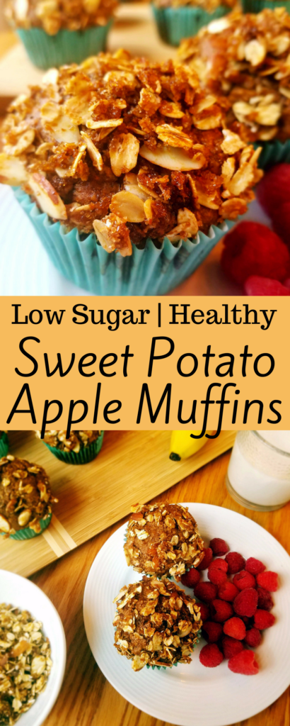 Sweet Potato Apple Muffins. These healthy, clean eating, low sugar muffins are packed full of cinnamon, allspice and cloves. Making them the perfect way to start your morning. They're also great for meal prep and freezing. The almond crumble is to die for! #healthybreakfast #cleaneating #lowsugar #muffins