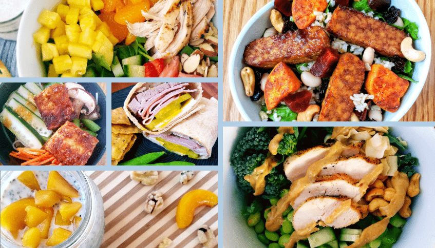 food collage from deluxe meal plan