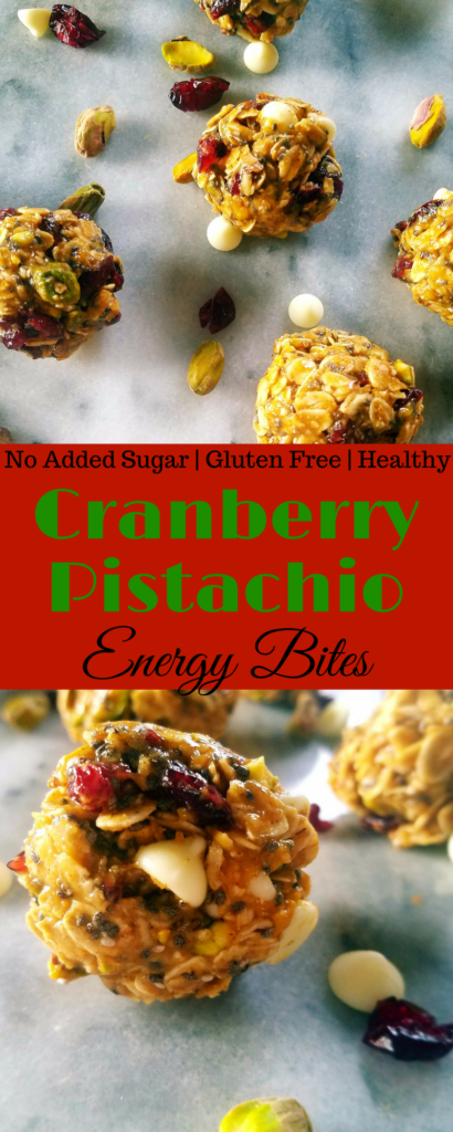 Cranberry pistachio energy bites are the perfect gluten free, healthy treat to keep on hand during the crazy holiday season. They're easy and quick to put together and travel really well. #energy #holidays #protein #glutenfree