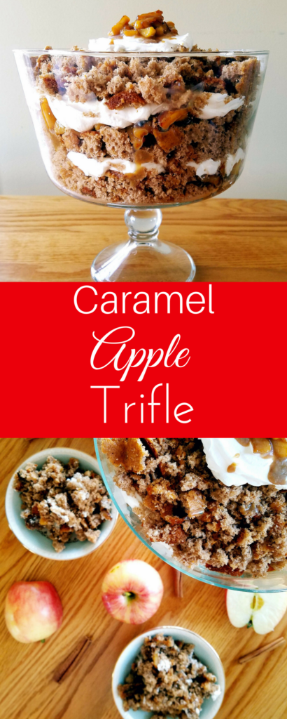 Caramel apple trifle is a delicious layered cake full of spongy spice cake, caramel apples and cool-whip. This easy dessert comes together in just 40 minutes and is the perfect cake for holiday parties.