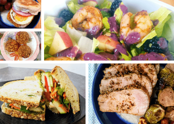 egg sandwich, baked strawberry oatmeal, shrimp salad, sliced pork, rainbow veggie sandwich
