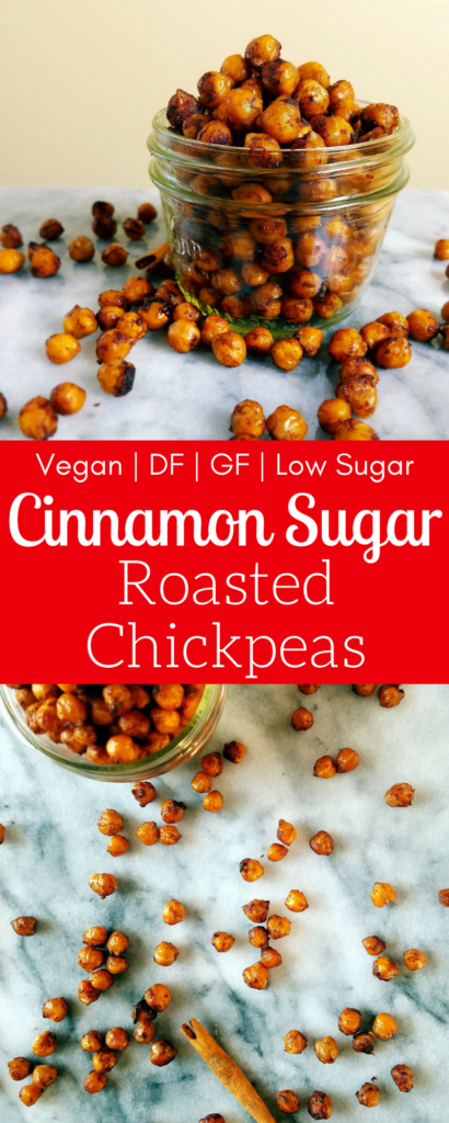 Cinnamon sugar roasted chickpeas are the perfect healthy crunchy snack. Low in sugar, they won't make you crash in the afternoon. These are a perfect snack for vegans, dairy free, gluten free, egg free eaters. #healthysnack #roastedchickpeas #vegan #glutenfreesnack