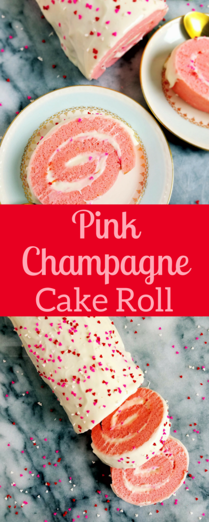 This pink champagne cake roll is the perfect cake roll for celebrations. It's also a great Valentine's day dessert for you and your sweetheart. This cake roll is really easy to put together. Enjoy during any holiday or celebration. #cake #cakeroll