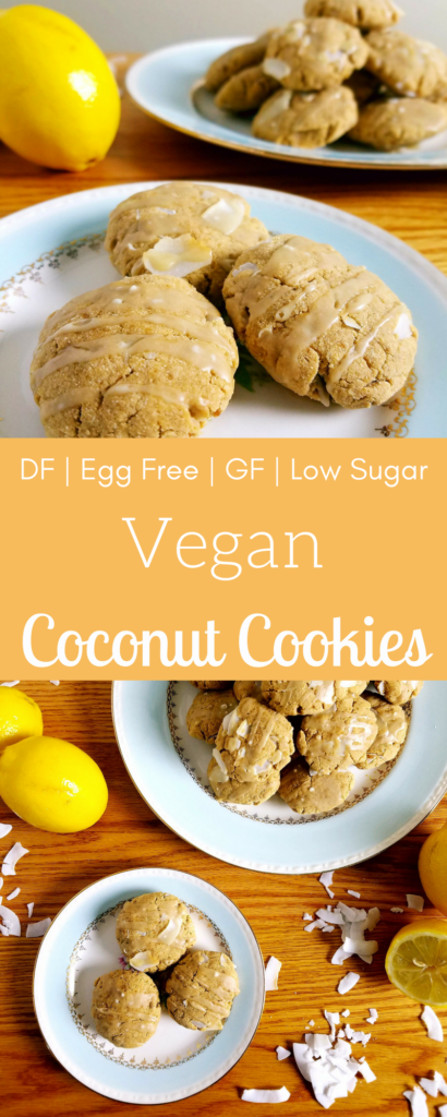 Vegan coconut cookies are going to surprise everyone who eats them. They're so soft and easy to make. They're also gluten free, dairy free and egg free. Plus the lemon ginger glaze that goes on top is pretty spectacular! #vegancookies #veganbaking #aquafaba