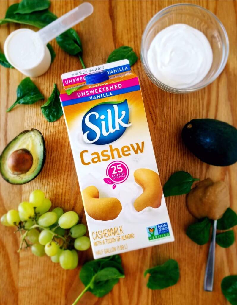 Using Silk cashew milk in this morning power green smoothie makes this smoothie extra creamy and delicious. Blend together grapes, spinach, avocado and peanut butter for the most delicious healthy breakfast smoothie.