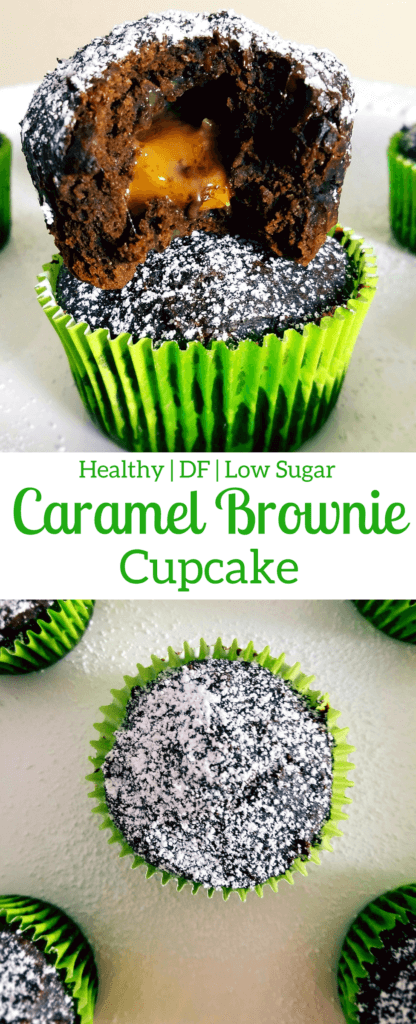 Healthier caramel brownie cupcakes are an easy, from scratch recipe that is dense and chewy, with ooey-gooey caramel. #healthydessert #caramelbrownies #fromscratch #easyrecipe