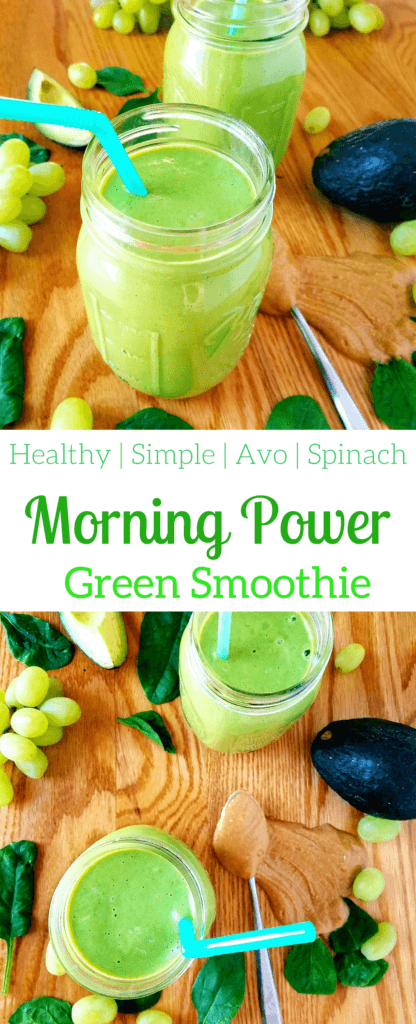 This morning power green smoothie will get your day started off on the right foot. With a combination of grapes, spinach, avocado and peanut butter, you'll get the best combination of fats and carbs all in one smoothie.#healthysmoothie #breakfastsmoothie #smoothie