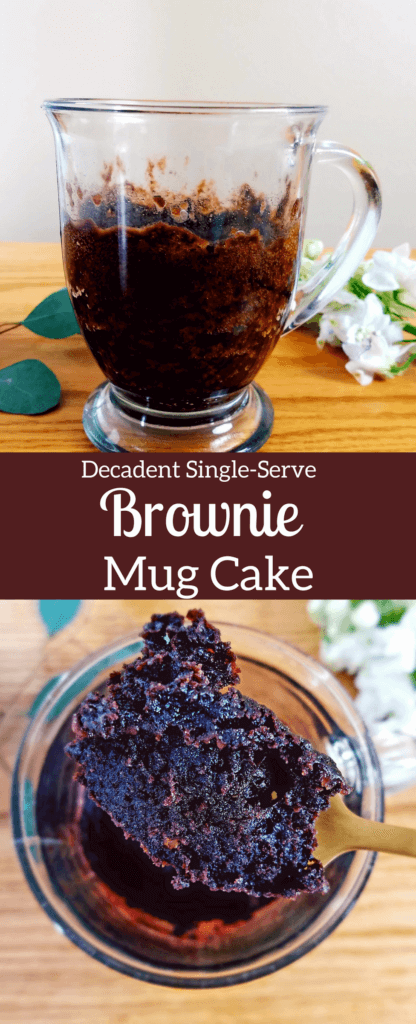 This decadent single-serve brownie mug cake is the BEST homemade brownie for one. Make this easy mug cake in just under five minutes. #brownie #mugcake #singleserve #chocolate