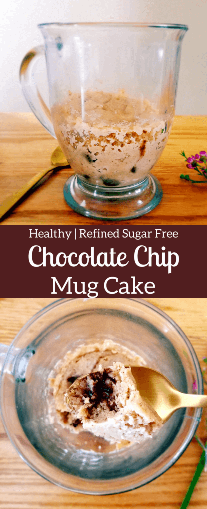 This chocolate chip mug cake is a healthy single-serve version of the classic chocolate chip cookie. Make this easy, homemade chocolate chip cookie in under five minutes. #healthydessert #healthycookie #mugcake #singleserve #chocolatechips