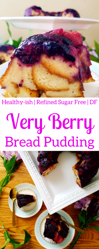 This very berry bread pudding is a simple yet extremely delicious dessert to serve for Valentine's day or any day of the year. It's made with brioche or Hawaiian sweet bread. No refined sugar and dairy free. Make this easy bread pudding for your next dessert. #healthy #breadpudding #easydessert