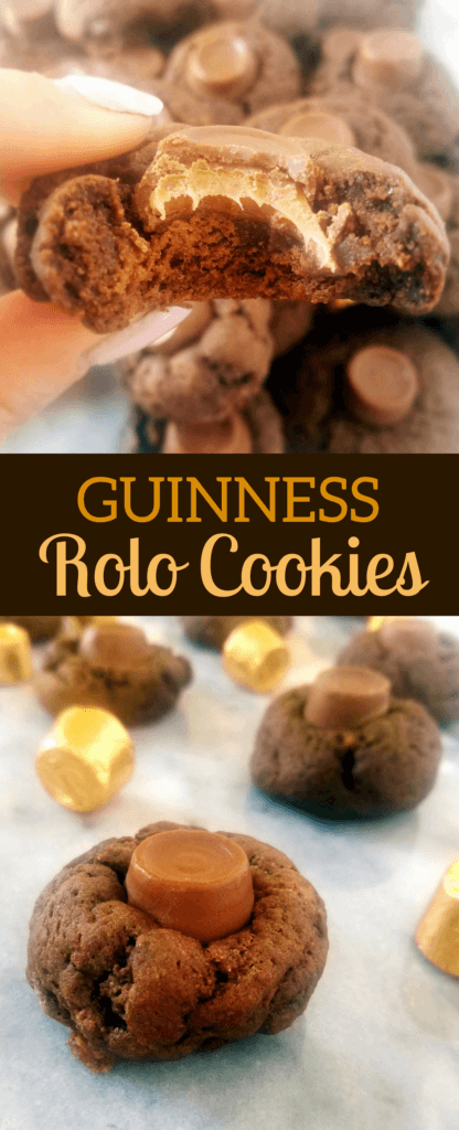 Celebrate St. Patrick's Day with these Guinness chocolate rolo cookies. This homemade chocolate cookie recipe is super simple to make and the combination of chocolate and caramel is one you won't want to miss out on. #guinness #cookies