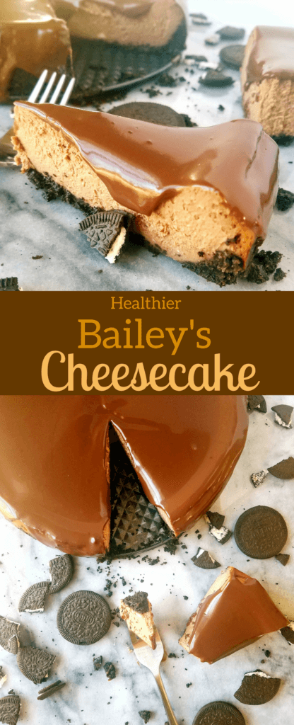 This Bailey's Chocolate Cheesecake brings together the coffee flavor of Bailey's and delicious dark chocolate flavor. Bonus! This healthier cheesecake uses natural sweetener, and half the amount butter in the crust and only one bowl. It's a must make for St. Patrick's Day and beyond! #cheesecake #easydessert #stpattysrecipe
