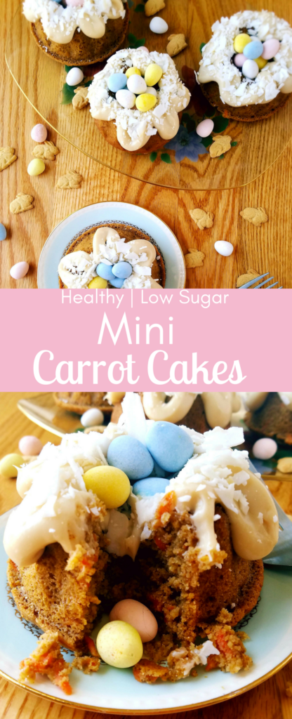 Mini carrot bundt cakes are a smaller, and healthier, version of the traditional carrot cake you know and love. Feel good about eating this super moist, sweet and healthy carrot cake for Easter dessert, or anytime after the carrot holiday! Carrot cake recipe | Healthy carrot cake | Easter dessert recipe