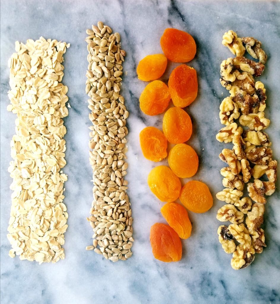 Old fashioned oats, sunflower seeds, dried apricots, walnuts