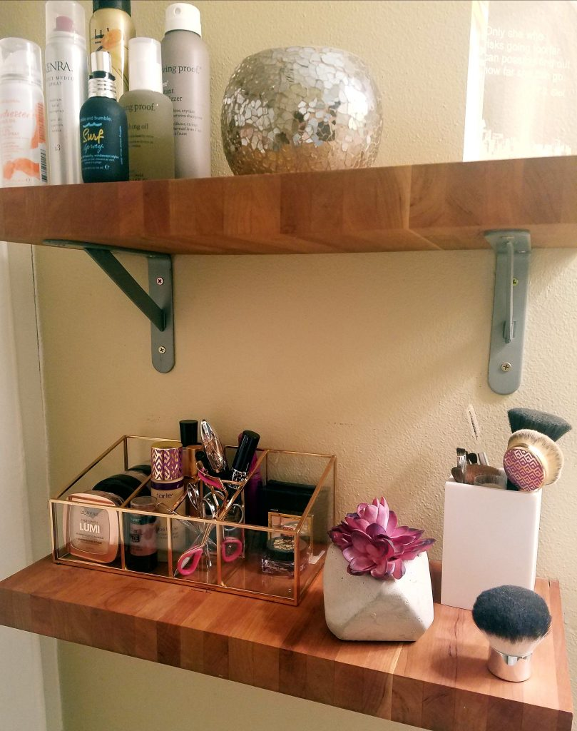bathroom make-up organizer and hair products