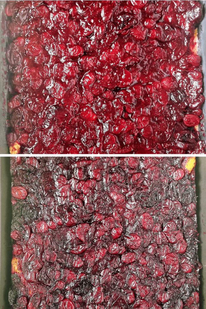 bourbon cranberry bars before and after baking