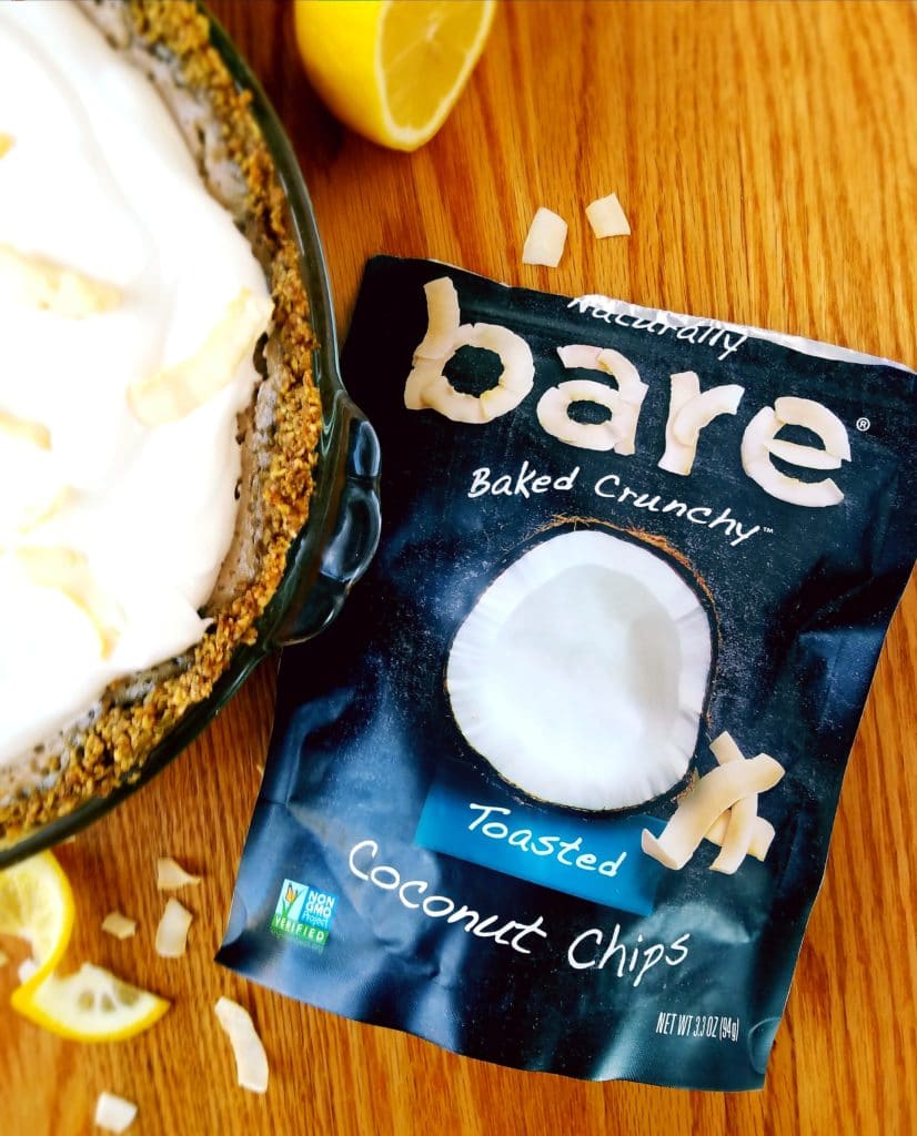 bare toasted coconut chips with only three ingredients next to vegan lemon pie