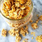 mango coconut granola in a jar