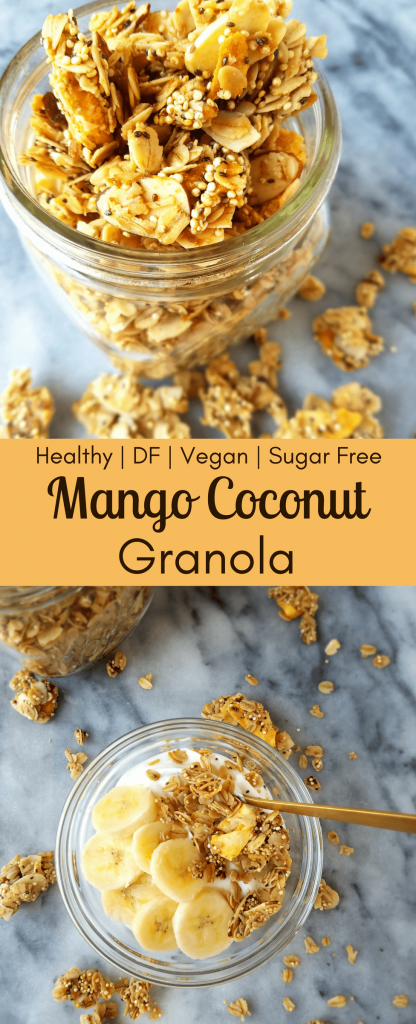 Mango coconut granola is like a ray of sunshine to your morning routine. This easy, homemade granola takes you to the tropics with freeze dried mangoes, coconut chips, oatmeal and quinoa. You won't be able to stop at just one bite. #homemadegranola #easybreakfast #simplerecipe #vegangranola
