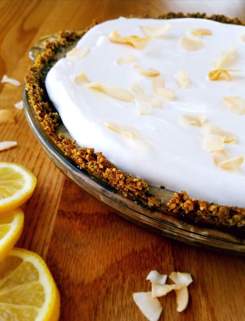Vegan lemon pie is a cool and creamy treat bursting with lemon flavor and just the right amount of sweetness. With no refined sugar, this easy no-bake pie recipe is a sweet treat to enjoy on a warm day.