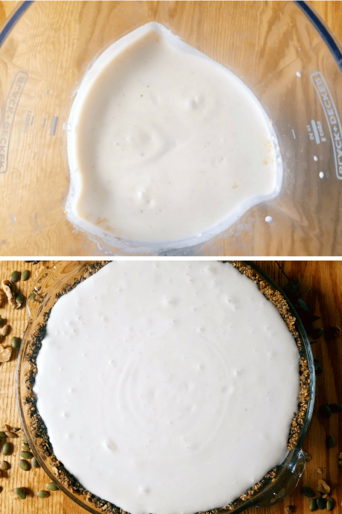 vegan lemon pie mixture in blender and then in a pie crust
