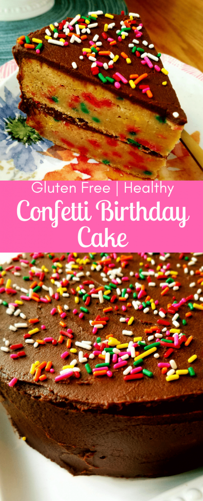 This healthy confetti birthday cake is homemade dense and chewy version of  funfetti cake. Made with good for you ingredients and just the right amount of sweetness. One bite and you won't be able to stop. Topped with creamy healthy chocolate frosting, you'll be making this healthy confetti birthday cake on repeat. #healthycake #healthyrecipe #birthdaycake #funfetticake #homemadefunfetti