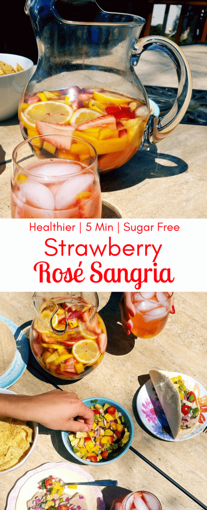 Rosé strawberry sangria is a simple recipe with loads of fresh fruit and chilled rosé. It's the perfect refreshing summer drink to keep on hand for backyard BBQ's, or casual nights on the patio. #sangria #summerdrinks #memorialdayrecipe #healthycocktails #healthydrinks #simplerecipe #sangria